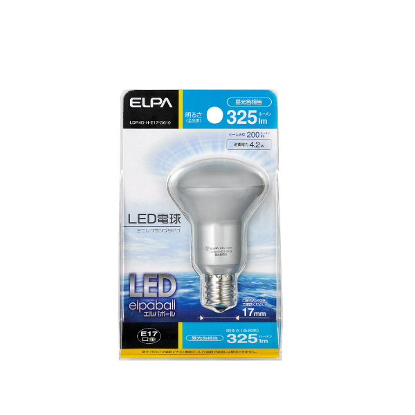 朝日電器 LED電球ミニレフ形 325lm・昼光色 LDR4D-H-E17-G610