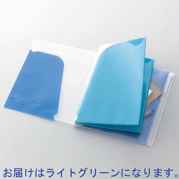 コクヨ ポケットブック<ノビータ>チャックポケット付 A4タテ ライトグリーン ラ-N205LG 1冊