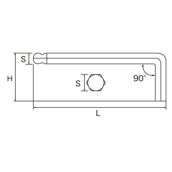 KTC ボールポイントL形ロング六角棒レンチセット HL259SP