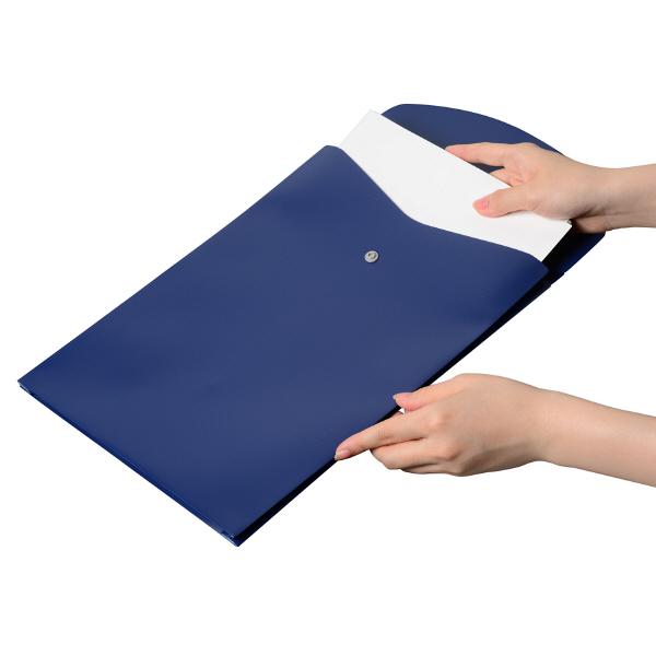 プラス シンプルワーク ポケット付エンベロープマチ付 A4タテ ブルー 88271 1袋(10枚入)