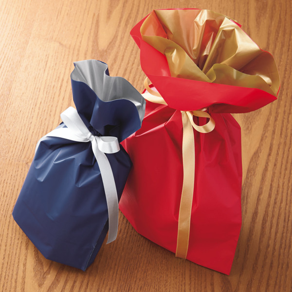 梨地リボン付き巾着(マチ付き) L ネイビー 1セット(60枚:20枚入×3袋) カクケイ