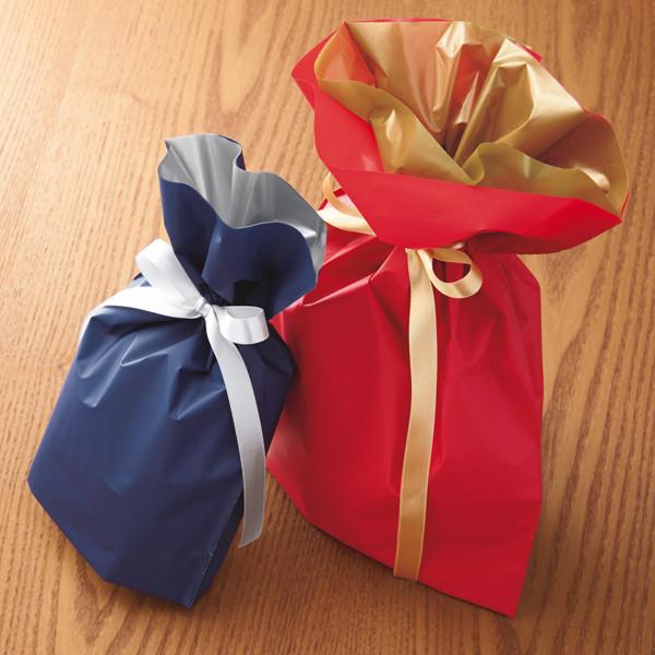 梨地リボン付き巾着(マチ付き) L レッド 1セット(60枚:20枚入×3袋) カクケイ