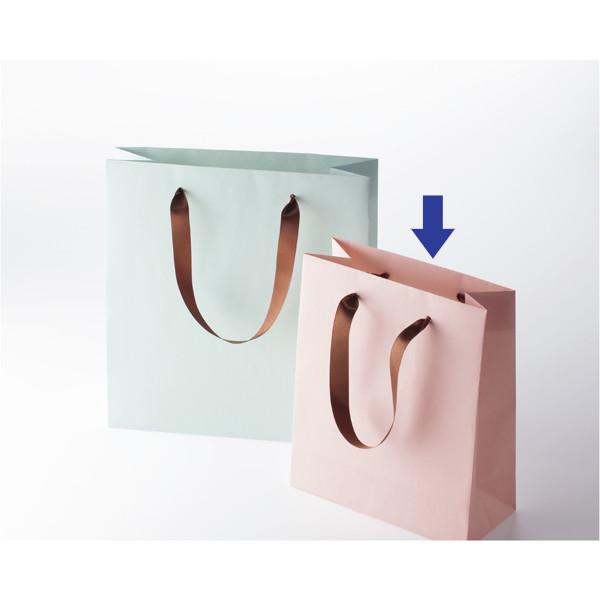 サテンリボン手提紙袋ピンク SS 30枚