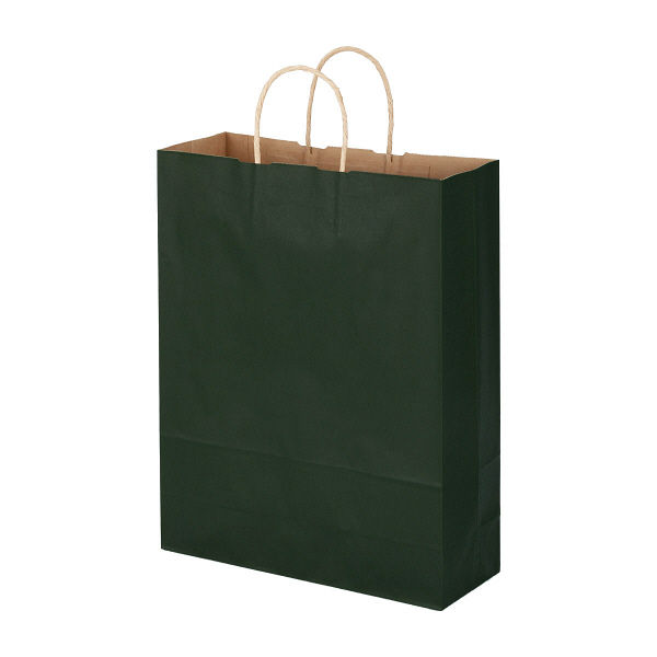 丸紐 手提げ紙袋 深緑 L 300枚