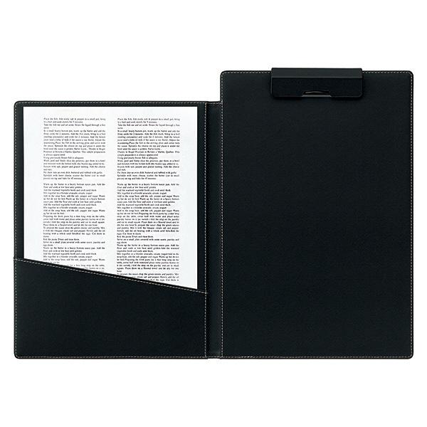 合皮製クリップファイル A4タテ 二つ折り 10冊 ブラック アスクル
