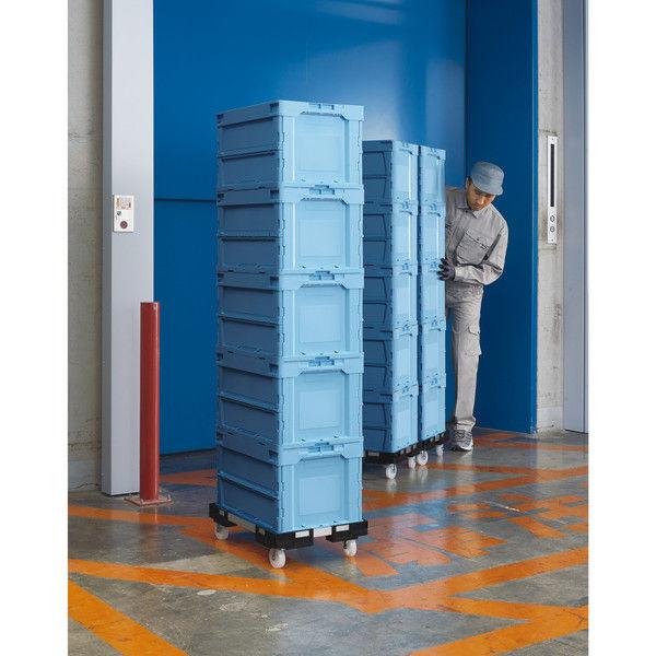 アスクル「現場のチカラ」 物流向け折りたたみコンテナ フタ一体型 50.4L ライトブルー 1セット(10個:5個入×2箱)