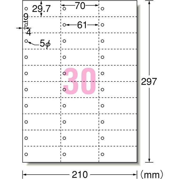 エーワン マルチカード POP・プライスカード ミシン目 プリンタ兼用 マット紙白 標準 A4 30面 1セット:1袋(5シート入)×5袋 51163(取寄品)