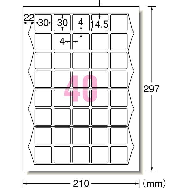 エーワン ラベルシールハイグレード パッケージ宛名ラベル プリンタ兼用マット紙白 A4 40面正方形 1セット:1袋(20シート入)×3袋 75240(取寄品)