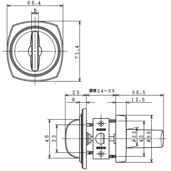 川口技研 戸襖錠 JL-24-2M-N (直送品)