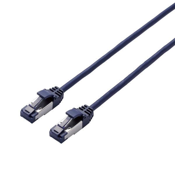 ELECOM LANケーブル/CAT8/爪折れ防止/スリム/10m/ブルーメタリック LD-OCTST/BM100 1個 (直送品)
