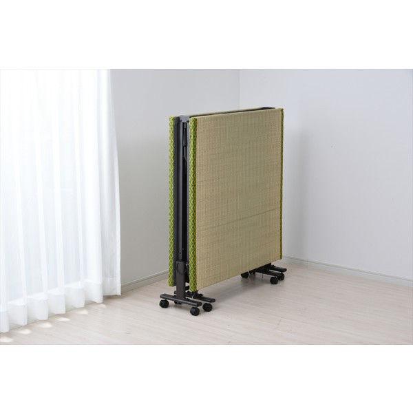 YAMAZEN 畳折り畳みベッド 幅915×奥行1950×高さ330mm シングル グリーン (直送品)