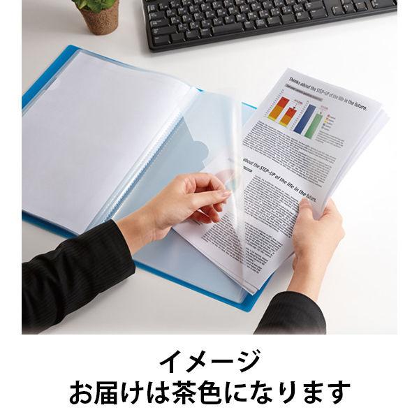 クリアーファイルA5 12ポケ茶色10冊