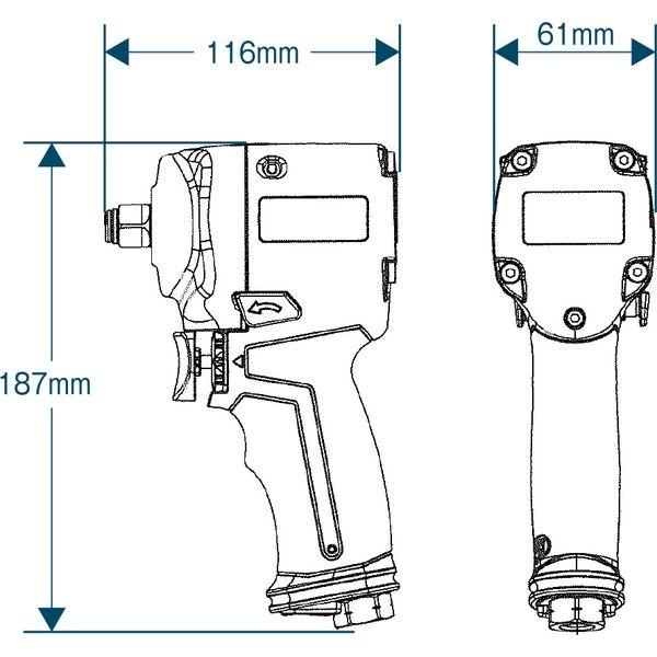 【エアーツール】フローバル プロスタイルツール(PROSTYLE TOOL) エアーインパクトレンチ ツインハンマー PI-678T 1個(直送品)