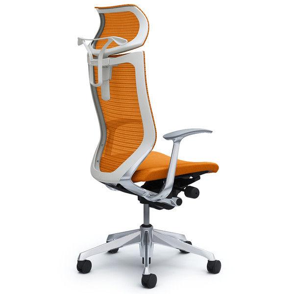 バロン チェア EXハイバック 可動ヘッドレスト 固定肘 背スタンダード・座クッション ポリッシュ×ホワイト オレンジ CP42BW FDF8 (直送品)