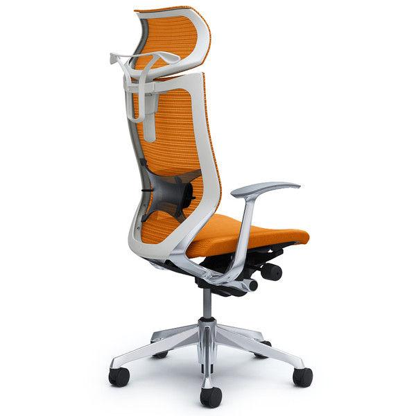 バロン チェア EXハイバック 可動ヘッドレスト 固定肘 背スタンダード・座クッション ポリッシュ×ホワイト オレンジ CP42BZ FDF8 (直送品)