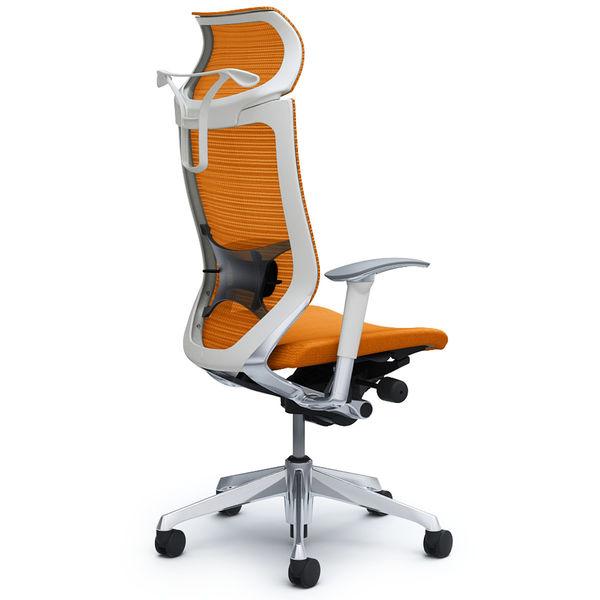 バロン チェア EXハイバック 固定ヘッドレスト 可動肘 背スタンダード・座クッション ポリッシュ×ホワイト オレンジ CP88BZ FDF8 (直送品)
