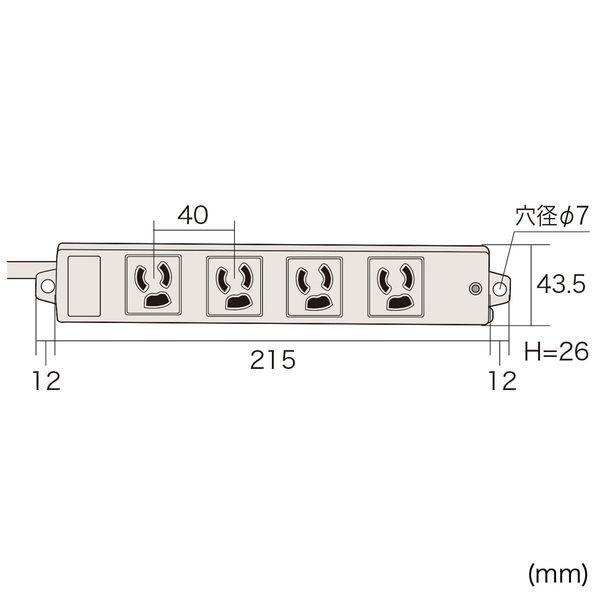 サンワサプライ 工事物件雷ガードタップ 3P式/4個口/3m/雷ガード機能/抜け止め機能/マグネット付/RoHS指令対応 TAP-K4SP-3 (直送品)
