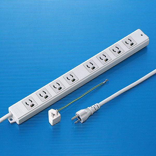 サンワサプライ 抜け止めタップ ホワイト 3P式/ライン型・8個口/2m/抜け止め機能/マグネット付/RoHS指令対応 TAP-MG3811N (直送品)