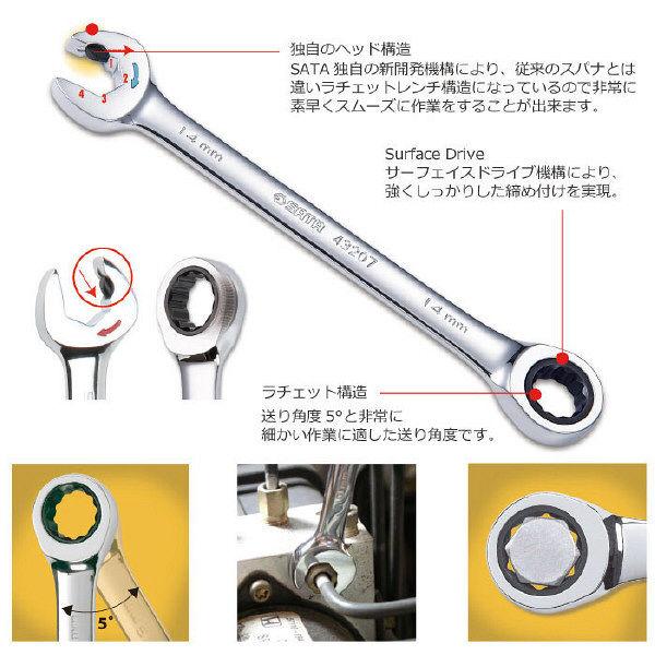 SATA 19pcsダブルラチェットコンビネーションセット RS-09925 SATA Tools (直送品)