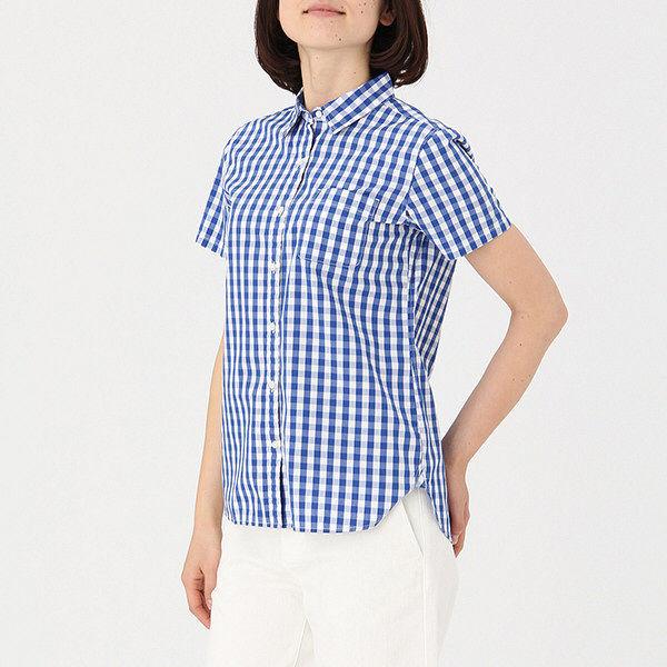 無印コットン洗いざらし半袖シャツ婦人 S