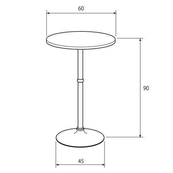 MaD3.14 ハイテーブル ラウンドタイプ ブラウン 幅600×奥行600×900mm 1台(直送品)
