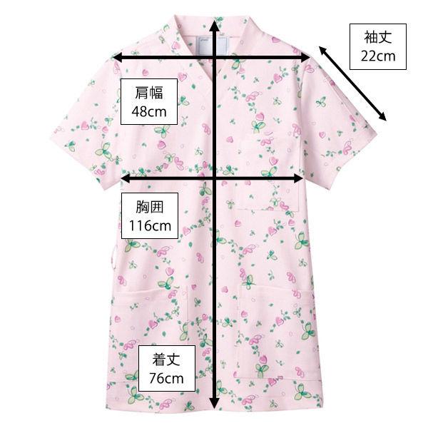 住商モンブラン スクラブジャケット 男女兼用 半袖 ピンク LL 72-610 (直送品)