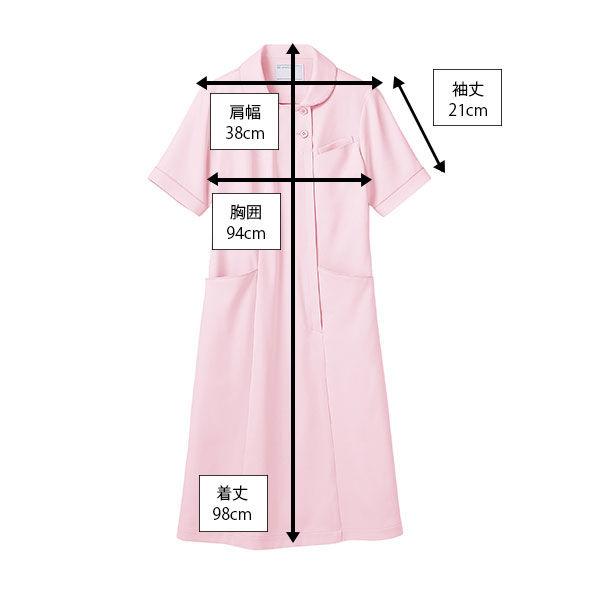 住商モンブラン ラウンドカラーワンピース ナースワンピース 医療白衣 半袖 ピンク S 73-1932 (直送品)