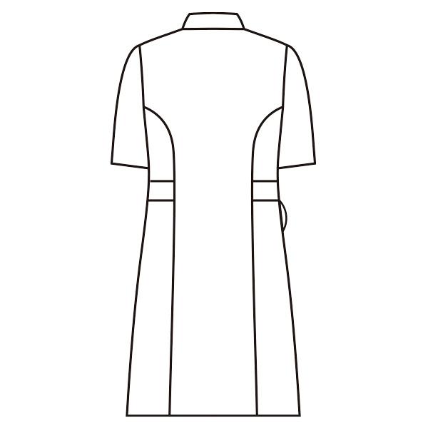 スクエアカラーワンピース 半袖 73-1910 ホワイト LL ナースワンピース (直送品)