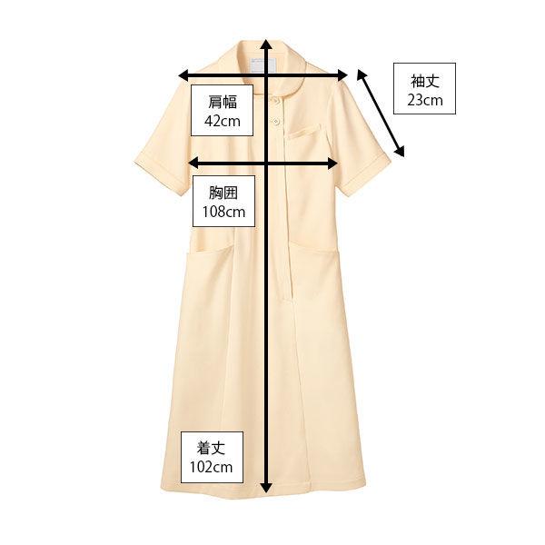 住商モンブラン ラウンドカラーワンピース ナースワンピース 医療白衣 半袖 コーラル LL 73-1938 (直送品)