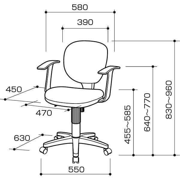 ナカバヤシ OAチェア オフィスチェア ロッキング機構付き 肘付 グレ- CGN-202N 1脚 (直送品)