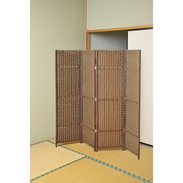 YAMAZEN(山善) 木製スクリーン 4連 ダークブラウン 1台 SSCR-4(DBR) (直送品)