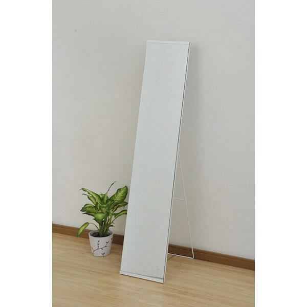 YAMAZEN(山善) スタンドミラー(スチールフレーム) 幅300×奥行400×高さ1500mm ホワイト 1台 (直送品)