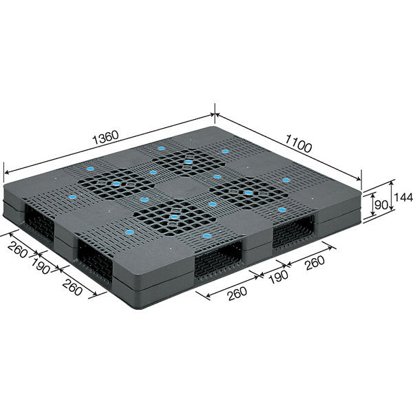 サンコー パレット D4-110136 PE 81301601GL803 (直送品)