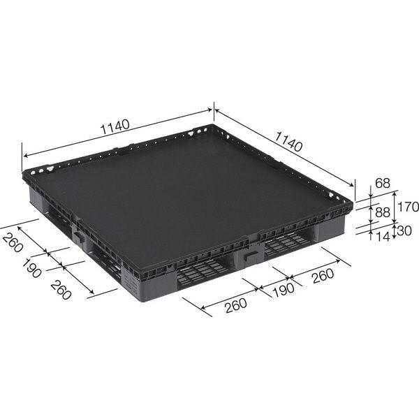 サンコー パレット D4-1111-M(キャスター付)BK 89800100BKRCP (直送品)