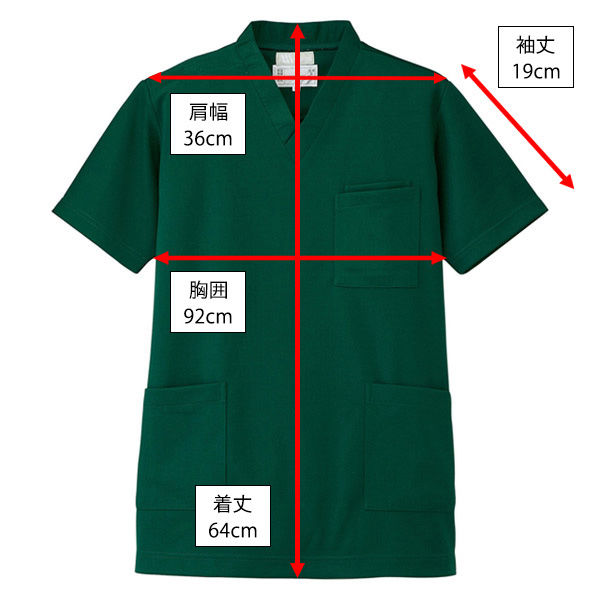 AITOZ(アイトス) ニットスクラブ(男女兼用) 半袖 グリーン SS 861401-015-SS (直送品)