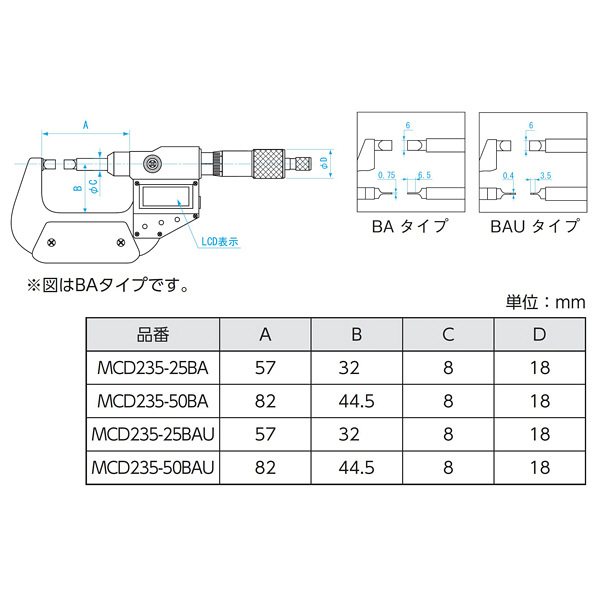 新潟精機 SK デジタル直進式ブレードマイクロメータ MCD235-25BAU