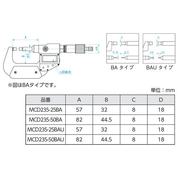 新潟精機 デジタル直進式ブレードマイクロメータ 5cm MCD235-50BA (直送品)