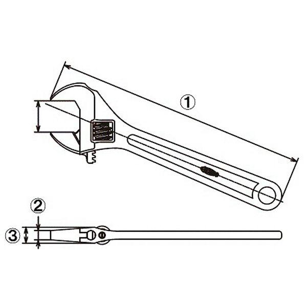 ロブテックス モンキーレンチ(強力型) M100 1本 (直送品)