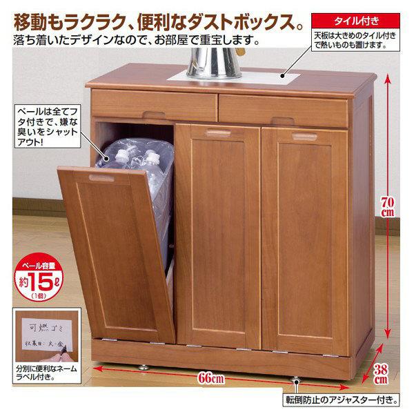 ファミリー・ライフ 木製分別ダストボックス 幅660mm ブラウン (直送品)
