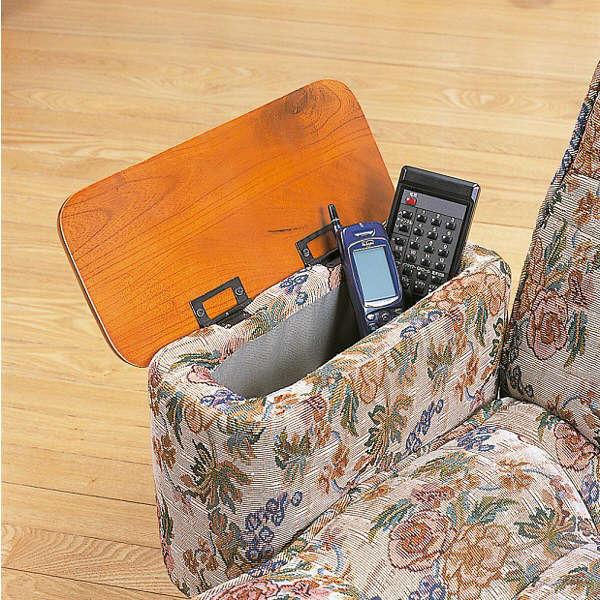ファミリー・ライフ 木製肘付きリクライニング回転座椅子 花柄 (直送品)