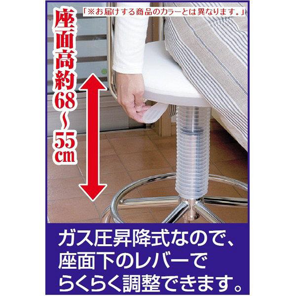 ファミリー・ライフ キャスター付きガス圧昇降式回転チェア ブラック (直送品)