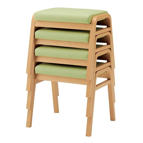 オカムラ スタッキングスツール 椅子(耐アルコール・耐次亜塩素酸仕様) 肘なし 背無 固定脚 座面回転なし ミントグリーン LYW93ZZ-PB22(直送品)