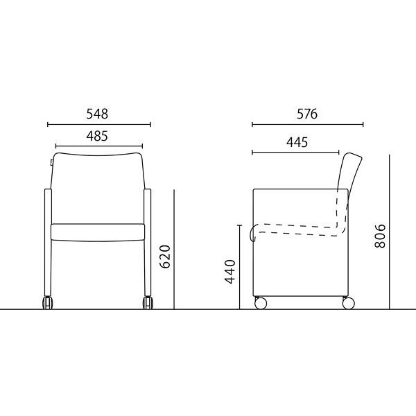 岡村製作所 シェアードスペース アームチェア レッド 8385AC FXP3 (直送品)