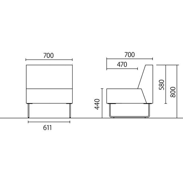 岡村製作所 シェアードスペース ソファ ブラウン 8SCR2A FXL9 (直送品)