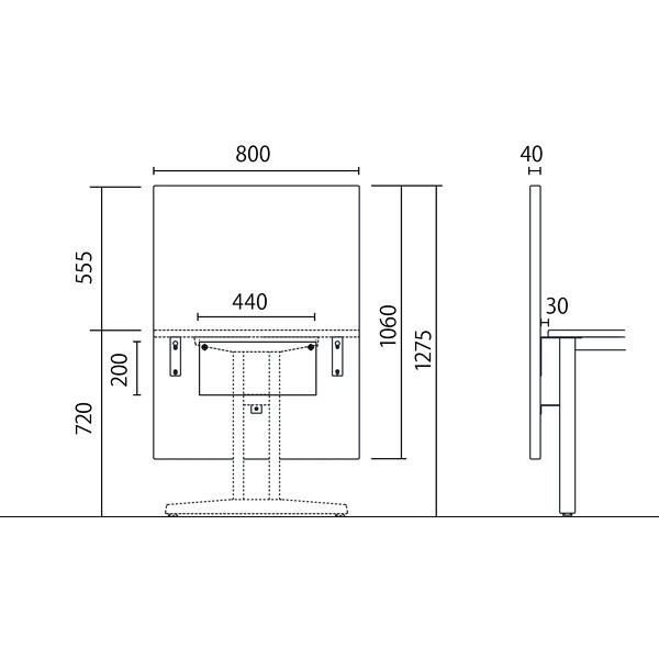 岡村製作所 シェアードスペース テーブル用バックパネル ブラウン 8SHP8T FXK9 (直送品)