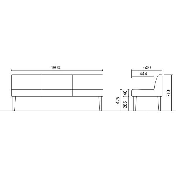 岡村製作所 シェアードスペース 3人用イス レッド LB55ZD FXP3 (直送品)