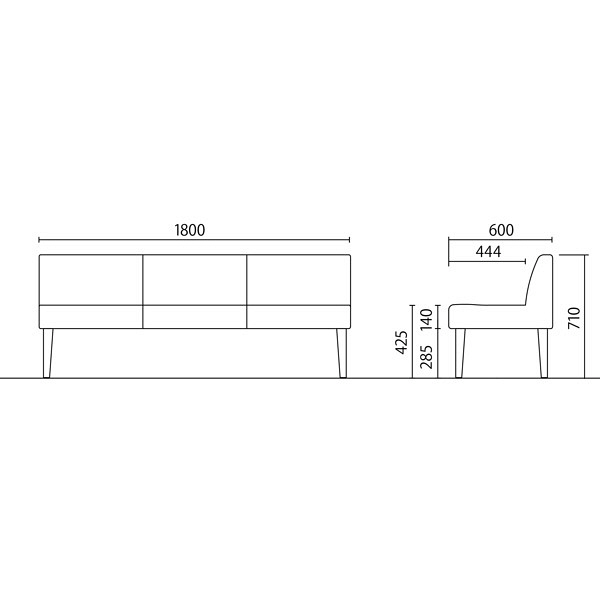 岡村製作所 シェアードスペース 3人用イス グリーン LB55ZD FXP5 (直送品)
