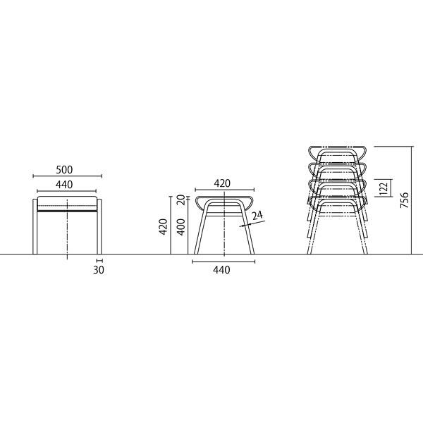 岡村製作所 シェアードスペース スツール ブルー LB71SA FXP6 (直送品)
