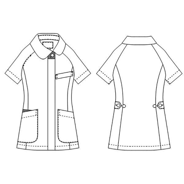 KAZEN レディスジャケット半袖 (ナースジャケット) 医療白衣 ホワイトXプラム LL 070-25 (直送品)