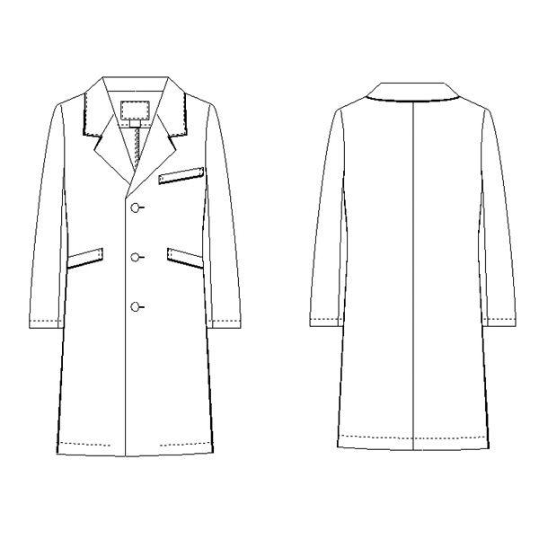 KAZEN メンズコート診察衣(ハーフ丈) ドクターコート 長袖 オフホワイト×ネイビー シングル L 114-18 (直送品)